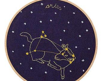 Ariete (21 marzo - 19 aprile) ricamo dello zodiaco