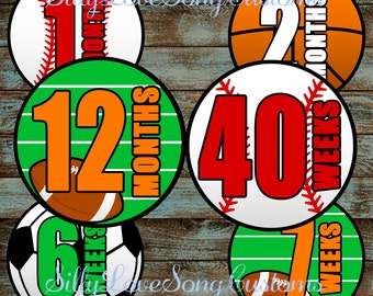 Sports Themed Printable Monthly Baby Stickers or Weekly Bump Stickers! DIGITAL FILES! 4inch Rounds