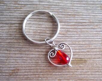 Heart Keychain, Red Bead Silver Heart Key Chain, Sweetheart Keychain, Filigree Heart Charm, Silver Heart Key Ring