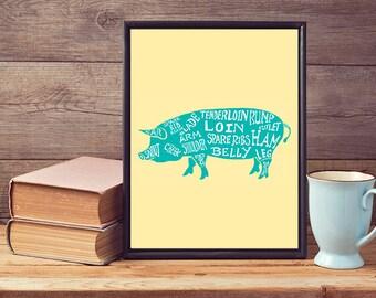 Butchers Cuts Diagram Pork Pigs Word Art Print Poster A4 A3