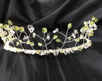 Tiara - Peridot and Green Amethyst Wedding or Prom Tiara