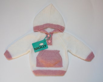 White and pink knitted hoodie for baby EU size 68, 3-6 months old