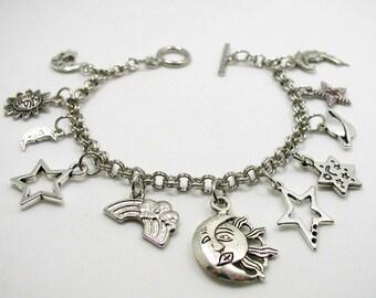 Celestial Charm Bracelet - Celestial Bracelet - Galaxy Charm Bracelet - Delicate Bracelet - Silver Jewelry - Gift Under 20 - Star Charms
