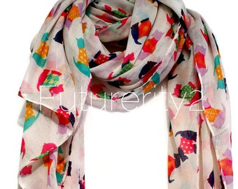 Off White Scottish Terriers Multi Colour Autumn / Winter / Spring Summer Scarf / Gift For Her / Fashion Accessories