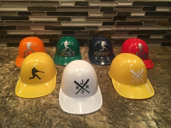 Baseball Party Favors Mini Baseball Helmets Custom Vinyl - Custom vinyl stickers for helmets