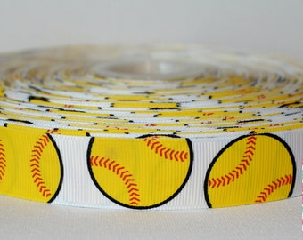 Softball grosgrain ribbon 7/8--5 yards
