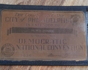 Vintage 1936 Democratic National Convention (Very Rare) Copper Identification Badge with Name, Philadelphia