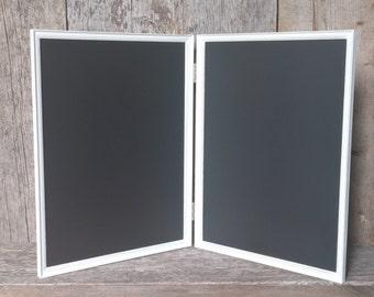 Hinged Magnetic Chalkboard Jewelry Display - Magnetic Jewelry Frame Stand - Magnetic Chalkboard Distressed White Jewelry Organizer