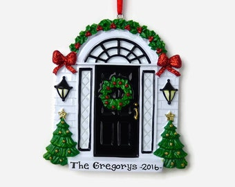 Black Door - New Home - First Apartment Personalized Ornament - Hand Personalized Christmas Ornament