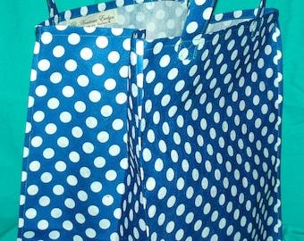 Blue Polka Dot Reusable Grocery Bag