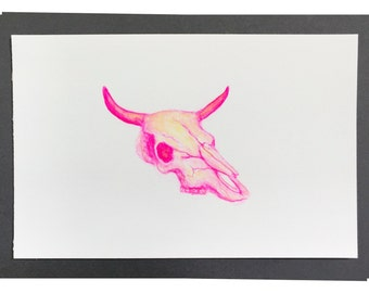 Pink and Yellow Cow Skull watercolor