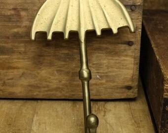 Vintage Brass umbrella Hook.  Item 448