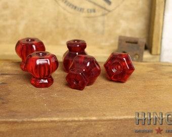 Vintage red ruby drawer, dresser, cabinet knobs. Item#