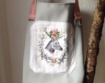 Bag, shopper, handmade and upcycled from vintage flour bag