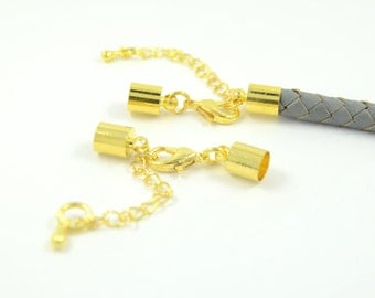 Brass Lobster Claw Cord Clasp for 6mm Leather Cord Lobster Clasp with end cap, gold color plated with end cap