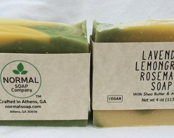 Lavender Lemongrass Rosemary Handmade Soap featuring Aloe Vera, Shea Butter, and Apricot Kernel Oil