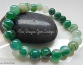 Green Banded Agate 8mm Round Large Bead Beaded Stretch Bracelet  Gemstone Crystal Healing  Handmade