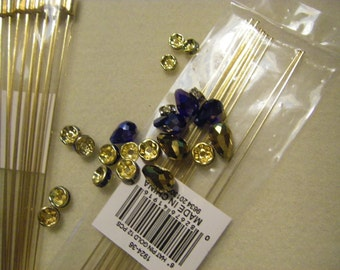package of 12  six inch gold tone  hat pin blanks