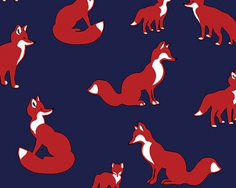 Vintage Fox Family on Deep Navy in KNIT, Pure Vintage BOLT Collection, Made in USA, Cotton Jersey Knit Fabric 5607