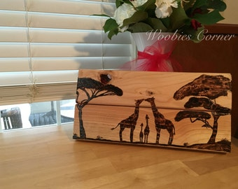 African Safari Silhouette w/ Giraffes family decor / Giraffe kissing decor / Giraffe love / Baby Giraffe pyrography home decor wall decor