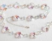 Aurora Borealis Crystal Bead Necklace - Vintage Bridal Necklace - Rivoli Stones - Swarovski Crystal - 925 Silver Chain - Gift For Her