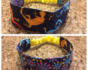 Adult multicolored flower/gecko reversible fabric headband/hairband/hair accessory
