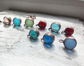 Copper Pendant, Glass Ball Pendant, Minimalist Pendant, Earthy Pendant, Rustic Pendant, Boho Pendant, Copper Jewelry