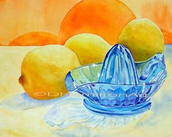 Lemons and Blue Glass Reamer, Watercolor lemons Still Life, Blue glass and lemons