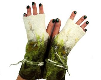 Mittens, fingerless gloves, arm warmers, white, green, brown - Feltmondo