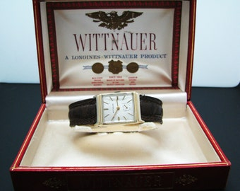 Vintage Handsome Gent's Wittnauer Watch in 14k Yellow Gold Case & Original Box