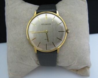 Vintage 1970's Helbros Men's Watch in Gold Tone