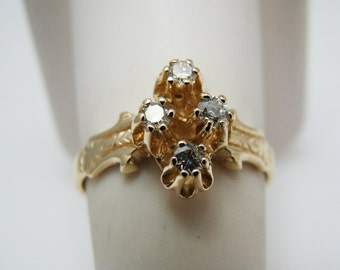 Beautiful 14k Yellow Gold (4) Diamond Ring