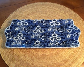 """Blue and White Floral SERVING DISH, Hors D'Oeuvre Tray, 12"""" Plate, Celery Dish, Asparagus Dish, Tray, Daisies, Shabby Chic"""