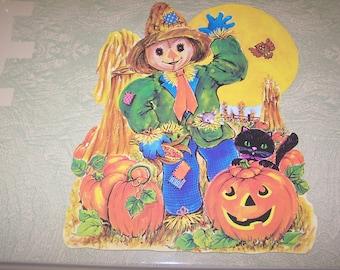 Vintage retro Halloween die cut scarecrow JOL pumpkin jack o'' lantern black cat decoration