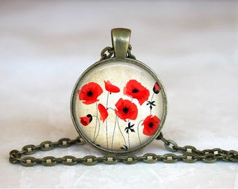 RED POPPY Pendant •  Poppy •  Vintage Flower Necklace •  Remembrance • Gift Under 20 • Made in Australia (P0199)