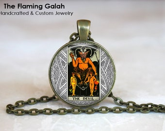 THE DEVIL TAROT Pendant • Tarot Card • Major Arcana • Occult • Fortune Teller • Gift Under 20 • Made in Australia (P0544)