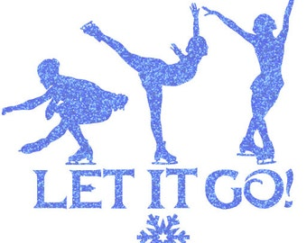 Let It Go Skating Iron On Decal
