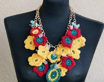 Summertime Statement  Bib crochet necklace with bead, metalic ,avant garde,boho