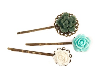 Floral Vintage Style Bobby Pins | Set Of 3