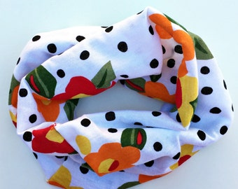 SALE; Polka Dot Floral baby tube scarf snood