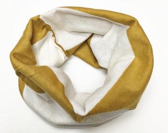 Mustard Stripe baby tube scarf