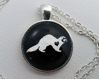 Custom Ferret Necklace, Glass Dome Pendant, Cute Pet Lover Gift, Round Art Cabochon Charm Jewelry, Pet Memorial Jewellery