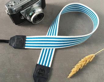 DSLR camera strap, Blue and White Line Camera Strap, leather camera Strap ,Gift for her