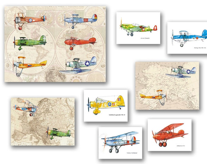 Airplane nursery decor Set 8 various prints Old worlds map decor Military airplanes Retro airplane art Boys nursery wall art