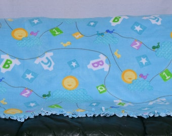 Baby Boy Tied Fleece Blanket Throw with Solid Blue back Perfect Baby Shower Gift