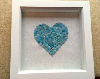 Aquamarine Heart Mosaic Picture - March Birthstone