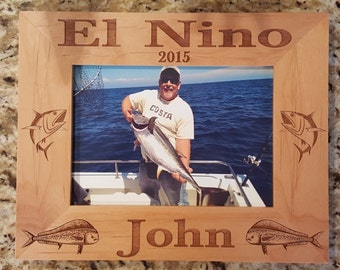Fishing Picture Frame 5x7  Custom Laser Engraved Frame, Blue Fin Tuna, Dorado