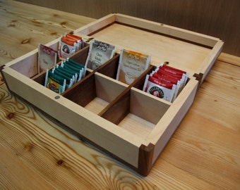 Walnut and Maple Cabinet for storing bags of tea and herbal tea