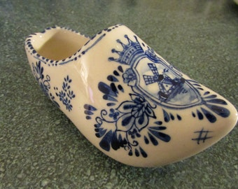Vintage Porcelain Hand Painted Delft Blue Dutch Shoe