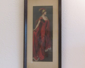Lady in Red - Charles Allan GIlbert Print
